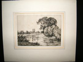 E. S. Bessell C1920 Signed Etching. The River Wye, Hereford